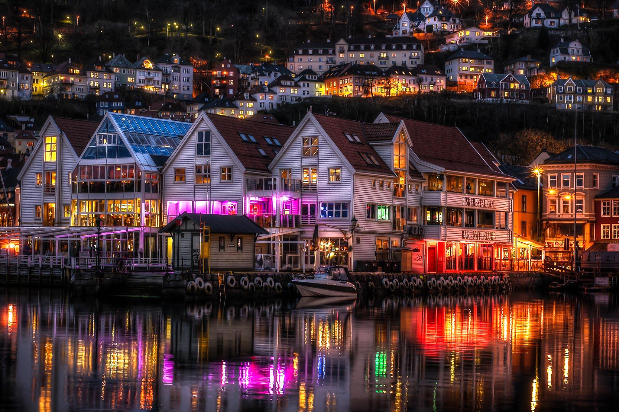 Ночной Берген, Норвегия